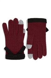 Kate Spade Women's New York Contrast Bow Tech Friendly Gloves Midnight Wine Black