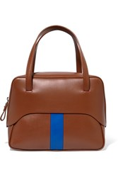 Tibi Mignon Striped Leather Tote Tan