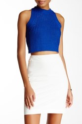 Blvd Cropped Sleeveless Knit Blouse Blue