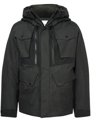 White Mountaineering Front Zipped Hooded Jacket Grey