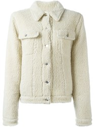 Maison Martin Margiela Mm6 Faux Fur Jacket Nude And Neutrals