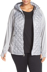 Michael Michael Kors Plus Size Women's Water Repellent Quilted Down Jacket Gun Metal Print