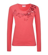 Escada Sport Floral Embroidered T Shirt Female Pink