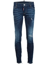 Dsquared2 'Skinny' Zip Detail Jeans Blue