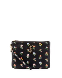 Monogram Prairie Flower Pouch Bag Black Multi Saint Laurent