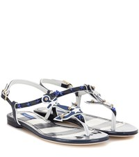 Dolce And Gabbana Embellished Patent Leather Sandals Blue