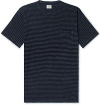 Faherty Indigo Dyed Striped Cotton Jersey T Shirt Indigo