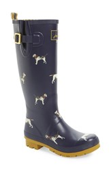 Joules Women's 'Welly' Print Rain Boot Navy Dog