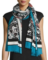 Burberry Beasts And Leaves Cotton Shawl Light Blue