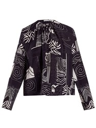 Balenciaga Abstract Print Silk Blouse Navy Print