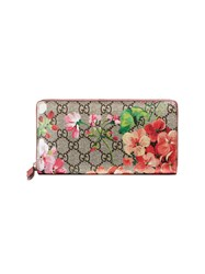 Gucci Gg Blooms Supreme Zip Around Wallet Women Leather Canvas One Size Pink Purple
