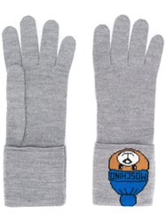 Moschino Knitted Teddy Gloves Grey