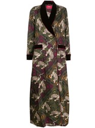 F.R.S For Restless Sleepers Printed Silk Coat Green