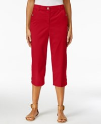 Karen Scott Petite Twill Capri Pants New Red Amore