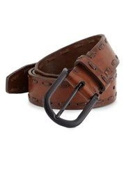 Saks Fifth Avenue Collection Stitched Edge Leather Belt Brown