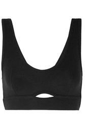 Else Cutout Ribbed Jersey Soft Cup Bra Black