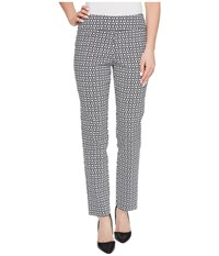 Krazy Larry Pull On Ankle Pants White Chain Print Women's Dress Pants Gray