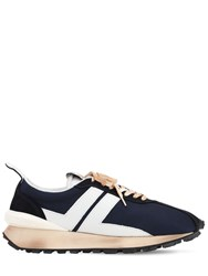 Lanvin Mesh Leather And Suede Running Sneakers Navy