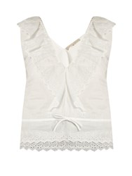 Vanessa Bruno Giwette Broiderie Anglaise Cotton Top White