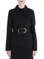 Stella Mccartney Dry Wool Belted Jacket Black