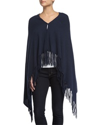 Minnie Rose Cashmere Button Front Fringe Poncho Bleu Marin