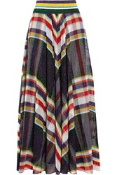 Missoni Metallic Crochet Knit Maxi Skirt Purple