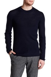 Atm Anthony Thomas Melillo Felt Elbow Patch Wool Pullover Blue