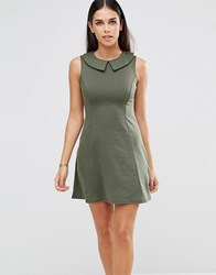 Club L Peter Pan Collar A Line Dress Khaki Green