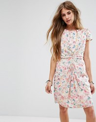 Yumi Gathered Front Dress In Butterfly Print Ivory Pink