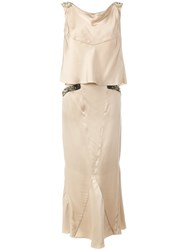 Chanel Vintage Bead Embellished Two Piece Suit Nude And Neutrals