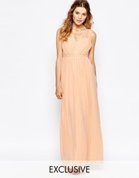 Vila Cinched Waist Maxi Dress Nude