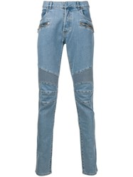 Balmain Quilted Detailed Skinny Jeans Blue