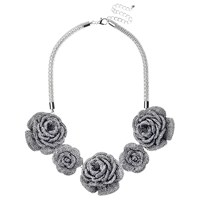 Adele Marie Rose Flower Necklace Silver