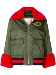 Gucci Logo Patch Bomber Jacket Green