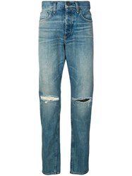 Rag And Bone Ripped Straight Leg Jeans Blue