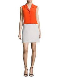 Carven Solid Button Front Tweed Dress White Orange