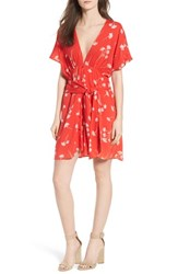 Lush Floral Cutout Back Minidress Red Floral