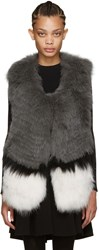 Yves Salomon Grey Knit Fur Vest