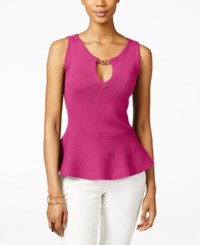Inc International Concepts Petite Sleeveless Hardware Peplum Top Only At Macy's Intense Pink
