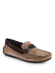 Bacco Bucci Color Blocked Suede Moccasins Taupe