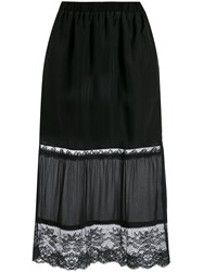 Twin Set Lace Detail Fitted Skirt Black