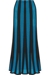 Adam By Adam Lippes Fluted Paneled Terry And Open Knit Maxi Skirt Turquoise