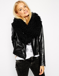 Asos Snood In Shaggy Knit Black