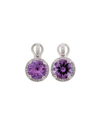 Poiray 18K White Gold Round Amethyst And Diamond Drop Earrings Purple