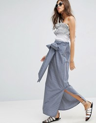 Asos Maxi Skirt In Stripe With Bow Detail Navy White Blue