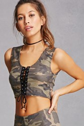 Forever 21 Camo Lace Up Crop Top Olive