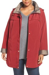 Gallery Plus Size Women's Two Tone Silk Look Raincoat With Removable Hood Rubiyat