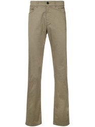 Gieves And Hawkes Straight Leg Trousers Cotton Spandex Elastane Green