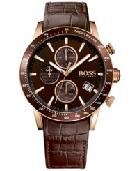 Boss Hugo Men's Chronograph Rafale Brown Leather Strap Watch 44Mm 1513392