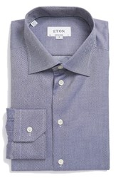 Eton Men's Big And Tall Contemporary Fit Solid Dress Shirt Blue
